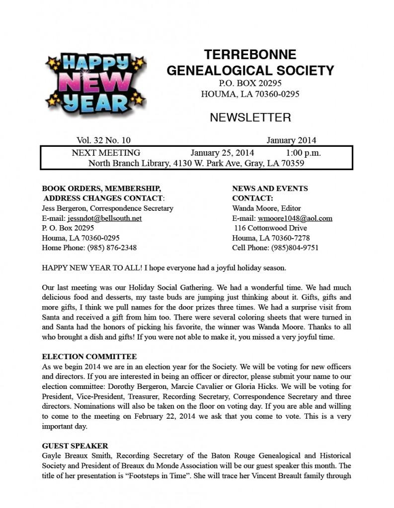 TGS newsletter January 2014