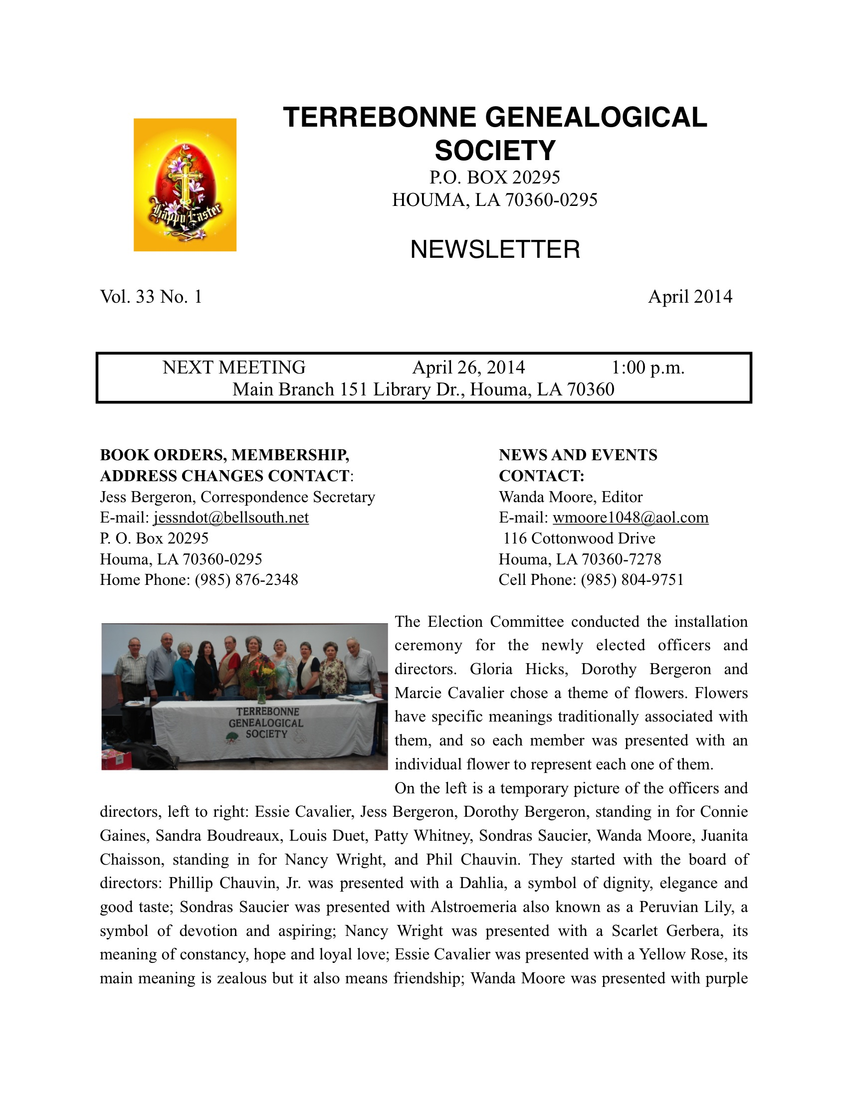 Newsletter VOL. 33 No 1